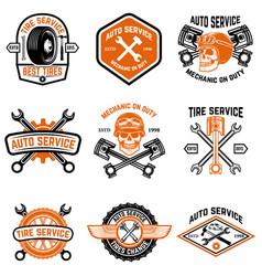 set of car service auto service tire change vector image vector image