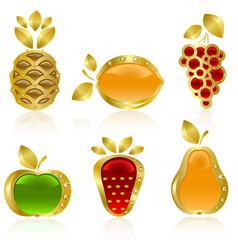 set of golden fruit vector image vector image