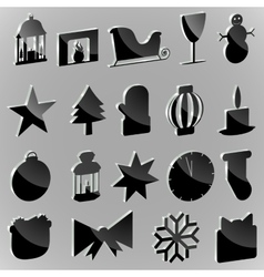 Silhouettes stickers christmas paraphernalia on a vector