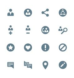solid grey various social network actions icons vector image