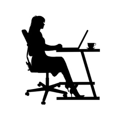 woman on laptop vector image