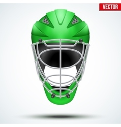 Classic green goalkeeper hockey field helmet vector