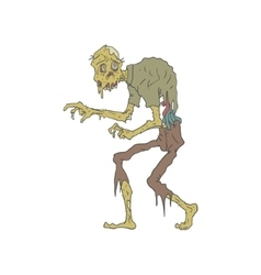 Creepy Zombie With Melting Skin Outlined Drawing vector image