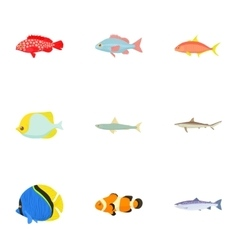 Ocean fish icons set cartoon style vector
