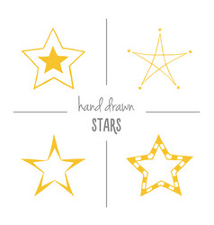 Set of yellow hand drawn stars vector