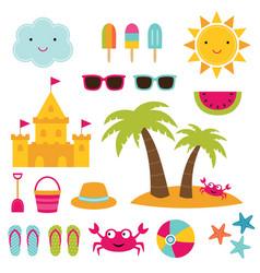Summer beach design elements vector