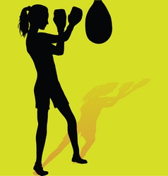 Girl boxer silhouette vector image