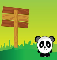 Panda with signboard in the nature art color vector