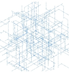 Abstract isometric computer generated 3d blueprint vector