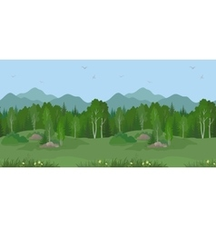 Seamless mountain landscape with trees vector