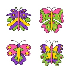 Set of color abstract butterfly isolated vector