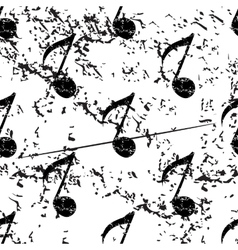 Eighth note pattern grunge monochrome vector