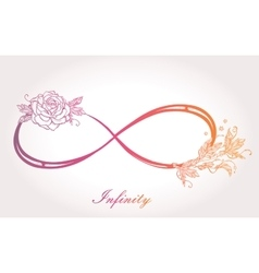 Infinity sign with rose vector
