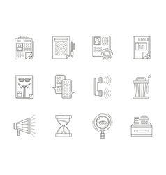 Recruiting thin line icons set vector image