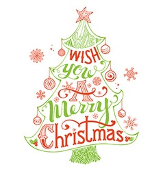 Merry christmas lettering in christmas tree vector