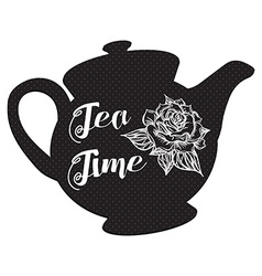 Tea time with rose vector