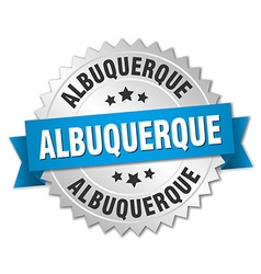 Albuquerque round silver badge with blue ribbon vector