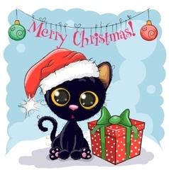 Black Cat in a Santa hat vector image
