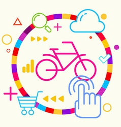 Bicycle on abstract colorful geometric light vector image vector image