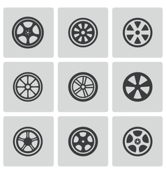 black wheel disks icons set vector image vector image