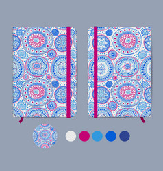 Blue copybook template with elastic band and vector