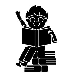 boy reading book sitting on books icon vector image vector image