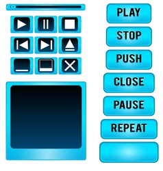 Button player blue vector image