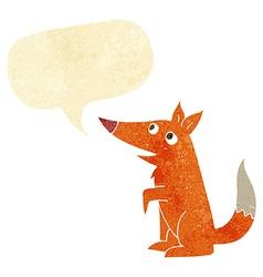 Cartoon fox cub with speech bubble vector