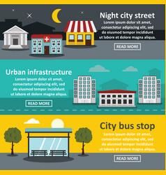 city street banner horizontal set flat style vector image