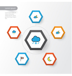 Climate colorful outline icons set collection of vector
