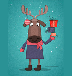 Cute christmas deer holding presents for vector