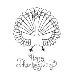 Doodle Thanksgiving Turkey Freehand Drawing vector image vector image