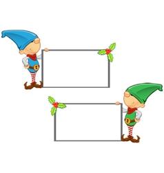 Elf Mascot Holding Blank Board vector image