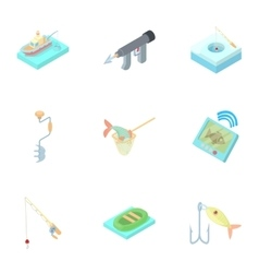 Fish catch icons set cartoon style vector