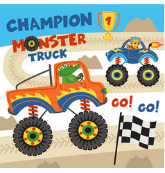 Monster trucks with animals on races vector