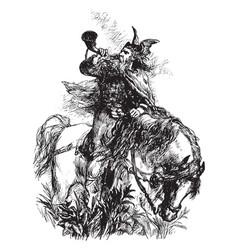 Norseman with winged helmet on horseback vintage vector