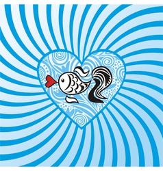 Sea fish heart pattern vector image vector image