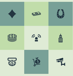 Set of simple gambling icons vector