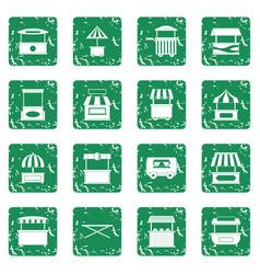 Street food truck icons set grunge vector