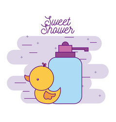 sweet shower rubber duck and bottle soap vector image