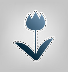 tulip sign blue icon with outline for vector image vector image