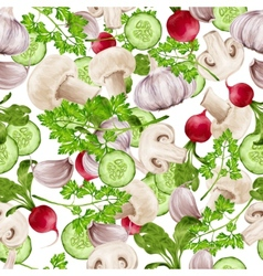 Vegetable mix seamless pattern vector image vector image
