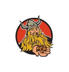 Viking handing hazelnut circle retro vector