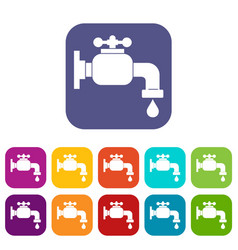 Water tap icons set flat vector