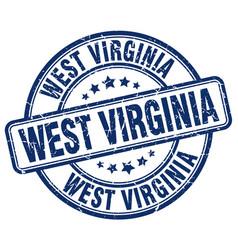 West virginia blue grunge round vintage rubber vector