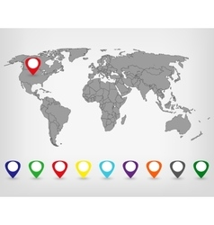 World Map with Markers vector image vector image