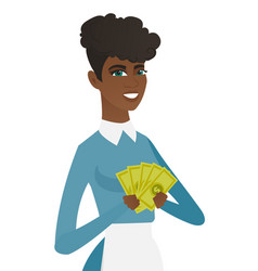 Young african-american cleaner holding money vector