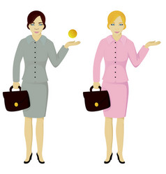 business lady keep dollar and with empty place vector image