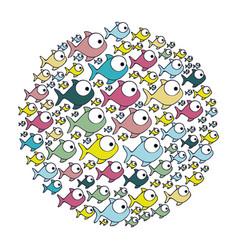 Colorful circular pattern fish aquatic animal vector