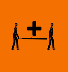 soccer medical staff carrying stretcher icon vector image